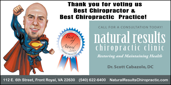 "Natural Results Chiropractic was voted 2017's ""best chiropractor"" and ""best chiropractic practice"" in Front Royal and Warren County. Thanks to everyone who voted!"